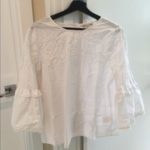 Crimson in Grace white blouse with cool sleeves